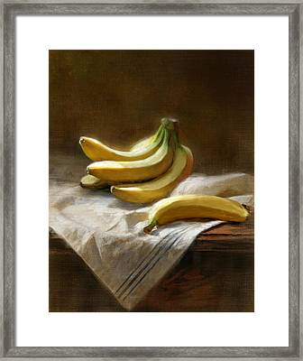Bananas On White Framed Print