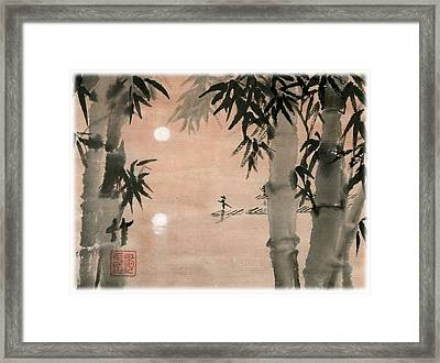 Framed Print featuring the painting Banboo Village by Ping Yan