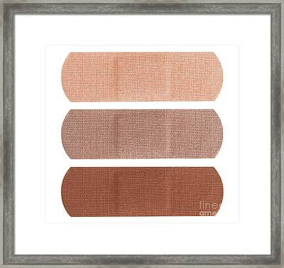 Bandages In Different Skin Colors Framed Print
