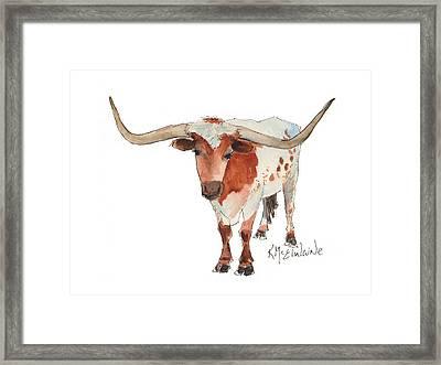 Texas Longhorn Bandero Watercolor Painting By Kmcelwaine Framed Print