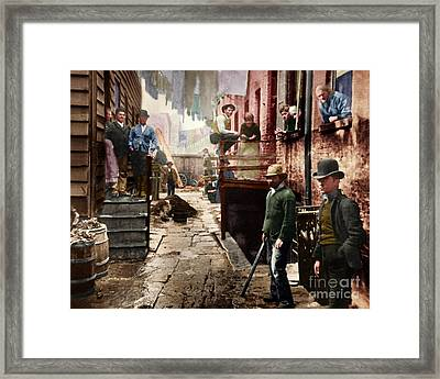 Bandit's Roost By Jacob Riis Colorized 20170701 Framed Print
