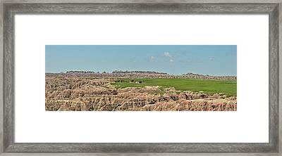 Badlands Panorama Framed Print by Nancy Landry