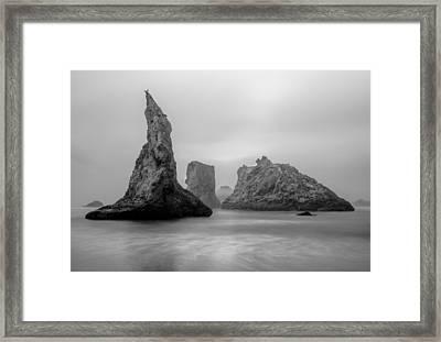 Bandon Beach In The Fog Framed Print