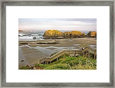 Bandon Beach Stairway Framed Print