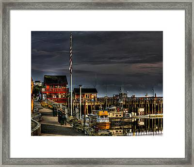 Framed Print featuring the photograph Bandon Boat Basin At Dawn by Thom Zehrfeld