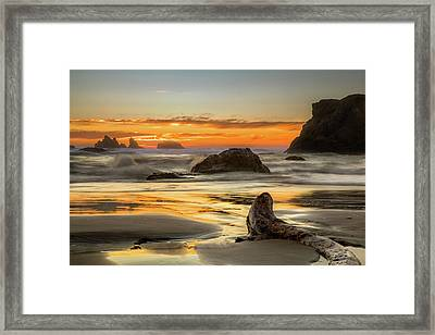 Bandon Orange Glow Sunset Framed Print