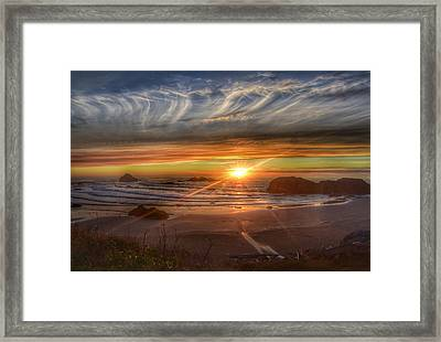 Framed Print featuring the photograph Bandon Sunset by Bonnie Bruno