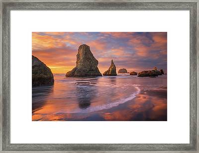 Bandon's New Years Eve Light Show Framed Print by Darren White