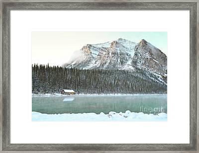 Banff Canada Lake Louise Cabin Landscape Framed Print by Andrea Hazel Ihlefeld