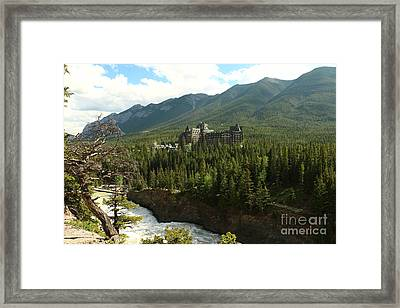Banff Springs Hotel And Bow River Framed Print