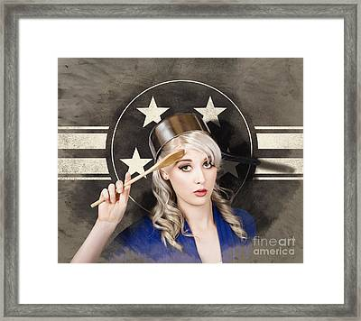 Bangers And Mash Girl. Army Pin Up Housewife Framed Print