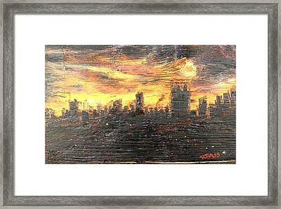 Bangkok City Sunset Glow Framed Print