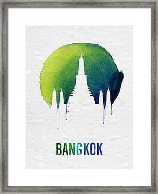 Bangkok Landmark Blue Framed Print by Naxart Studio