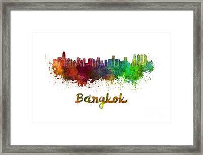 Bangkok Skyline In Watercolor Framed Print
