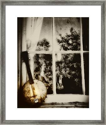Banjo Mandolin In The Window In Black And White Framed Print by Bill Cannon