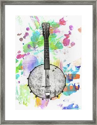 Banjo Mandolin Watercolor Bg Framed Print by Bill Cannon