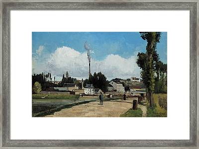 Banks Of The Oise At Pontoise Framed Print by Camille Pissarro