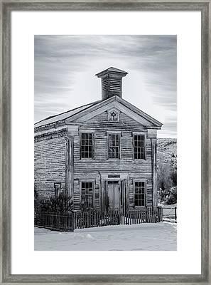 Bannack Schoolhouse And Masonic Temple Monochrome Framed Print by Teresa Wilson