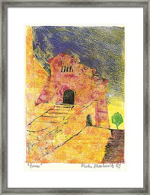 Framed Print featuring the painting Banon Village In Provence by Martin Stankewitz