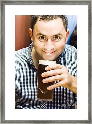 Bappy European English Man Drinking Pint Of Beer Framed Print