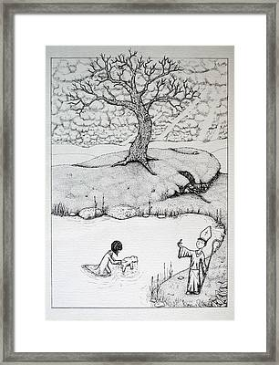 Framed Print featuring the drawing Baptism Of Ted E. Bear by Josean Rivera