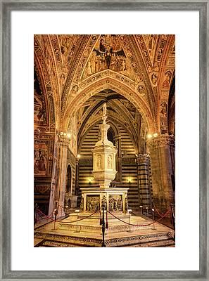 Baptistery Siena Italy Framed Print by Joan Carroll