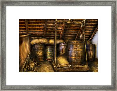 Bar - Wine Barrels Framed Print by Mike Savad