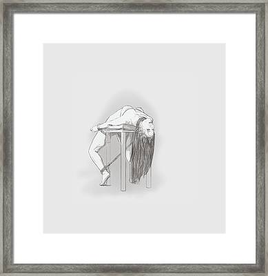 Framed Print featuring the mixed media Bar Chair Bw by TortureLord Art