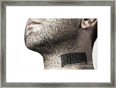 Bar Code On Neck Framed Print