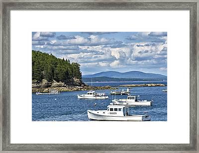 Bar Harbor Lobster Boats - Frenchman Bay Framed Print by Brendan Reals