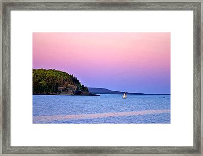 Framed Print featuring the painting Bar Harbor Sunset by Larry Darnell