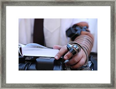Framed Print featuring the photograph Bar Mitzvah Celebration With Tefillin  by Yoel Koskas