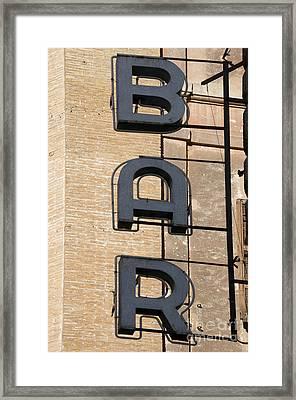 Bar. Neon Writing Framed Print by Bernard Jaubert