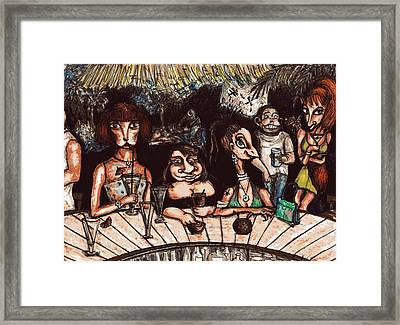 Framed Print featuring the drawing Bar Scene by Rae Chichilnitsky