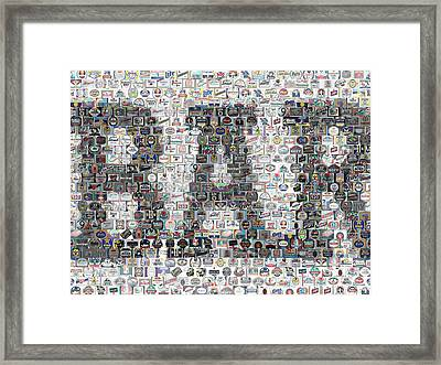 Framed Print featuring the mixed media Bar Sign Beer Label Mosaic by Paul Van Scott