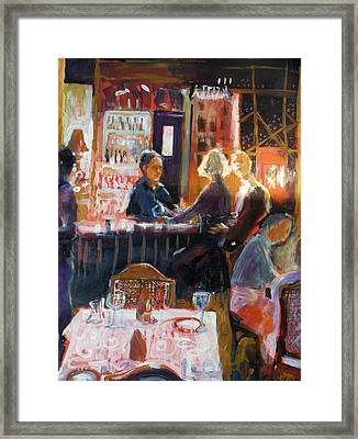 Framed Print featuring the painting Bar Talk by Gertrude Palmer