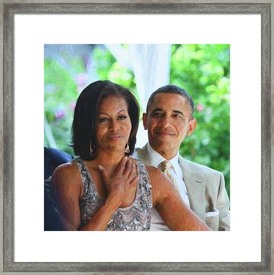 Barack And Michelle Obama Framed Print by Asar Studios