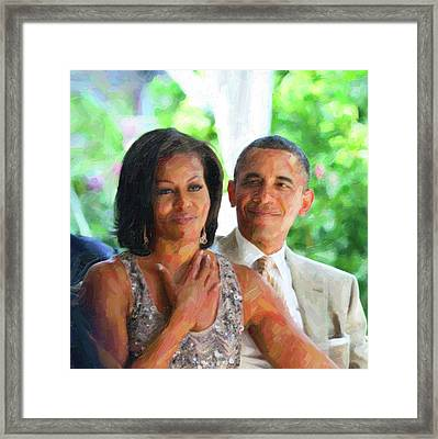 Barack And Michelle Obama Framed Print by Celestial Images
