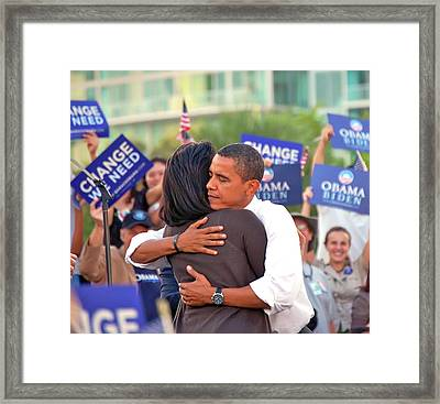 Barack And Michelle Framed Print by Richard Pross