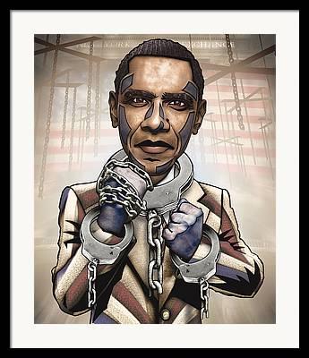 President Obama Digital Art Framed Prints