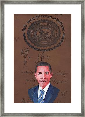 Barack Obama 44th President Of Usa Vintage Old Paper Art Miniature Painting India   Framed Print