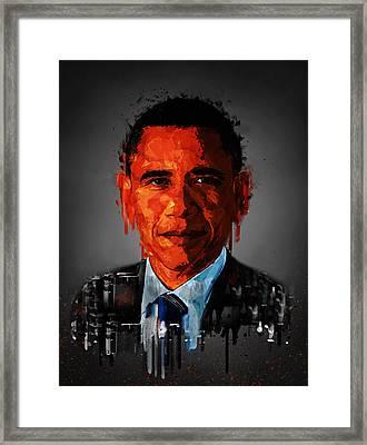 Barack Obama Acrylic Portrait Framed Print by Georgeta Blanaru
