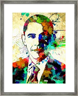 Barack Obama Grunge Framed Print by Daniel Janda