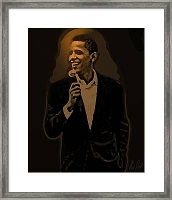 Barack Obama Framed Print by Helmut Rottler