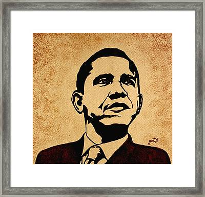 Barack Obama Original Coffee Painting Framed Print