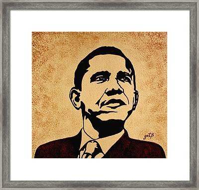Barack Obama Original Coffee Painting Framed Print by Georgeta  Blanaru