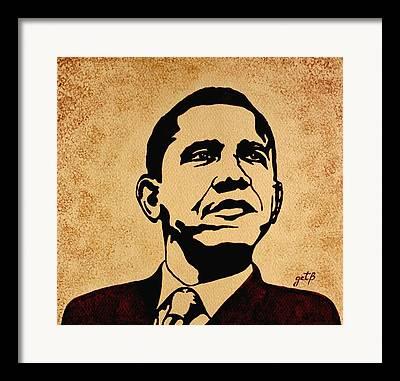 Barack Obama Pop Art Coffee Art Framed Prints