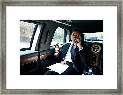 Barack Obama Talks To A Member Framed Print