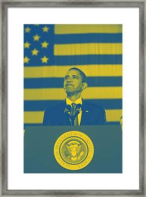 Barack Obama With American Flag 2 Framed Print