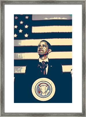 Barack Obama With American Flag 4 Framed Print
